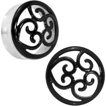 30mm Steel Black Filigree Duet Heart Saddle Plug Set