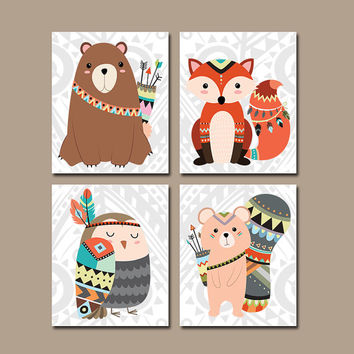 WOODLAND Nursery Wall Art, CANVAS or Prints Forest Animals Artwork, Gender Neutral Decor, Bedroom Pictures, Tribal Fox Bear Owl Set of 4