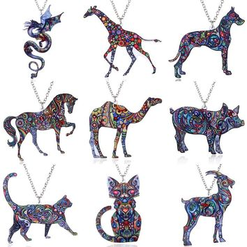 Handmade Jewelry Colorful Double Side Acrylic Printing Flower Cat Dog Dragon Pendant Necklace For Women Costume Sweater Chain