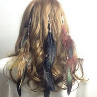 Cute Bohemian Women Girls Real Feather Clips in on Hair Extensions Hair Piece
