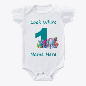 Trolls Personalized First 1st Birthday Onesuit or T-shirt