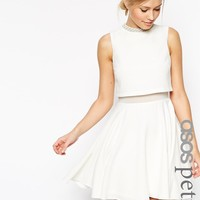 ASOS Petite | ASOS PETITE Crop Top Skater With Embellished Neck Dress at ASOS