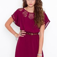 Web Cutout Dress - Wine