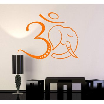 Vinyl Wall Decal Om Symbol Elephant Head Hinduism Hindu Stickers Unique Gift (ig4732)