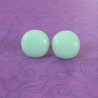 Mint Green Earrings, Green Stud Earrings, Hypoallergenic, Stud Earring Jewelry - Minty - 2235 -4