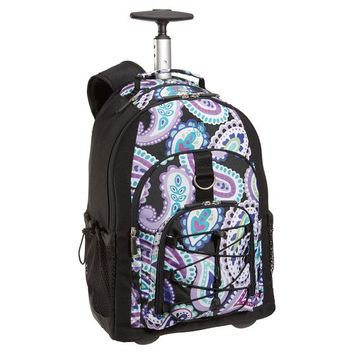 Gear-Up Black Paisley Rolling Backpack