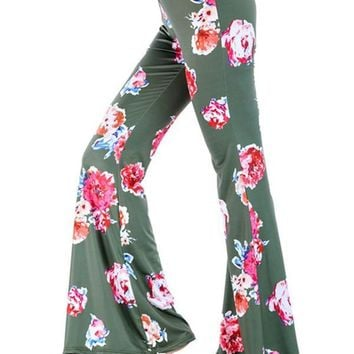 e0b485316743 New Green Floral Print Bell Bottom High Waisted Comfy Long Pants