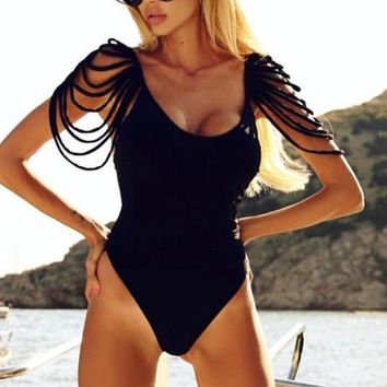 Summer Beach Classic Women Sexy Tassel Backless One Piece Bikini Swimsuit Black