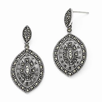 Sterling Silver Marcasite Fancy Dangle Post Earrings