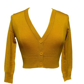 Mak Mustard Yellow Cropped V-neck Cardigan Sweater