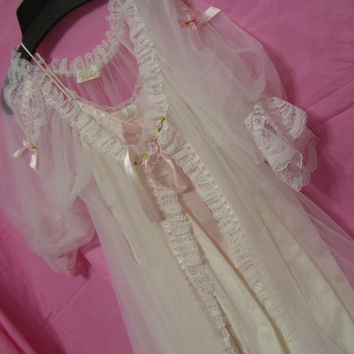 Bridal Honeymoon White Peignoir Set Long Robe and Night Gown Negligee Romantic Ruffles Ribbons and Lace