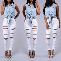2017 new hot Women Denim Skinny Ripped Pants High Waist Stretch hole Jeans Long Pencil Trousers