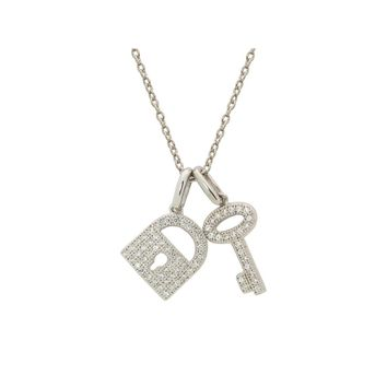 "Fronay Co,  ""True Love Opens My Heart"" Lock & Key Cubic Zirconia Platinum Plated Necklace"