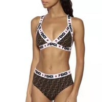 FENDI Women Fashion High Waist Bikini Set Swimsuit Swimwear