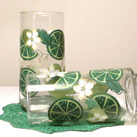 Drinking Glasses with Limes and Blossoms, Replacement Drinking Glasses, Summertime Tumbler, Ice Tea Glasses, laslovelies