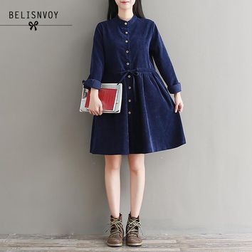 Robe Femme Winter Vintage Dress Women Long Sleeve Drawstring Waist Corduroy Dresses Green Navy Blue Vestidos Tunics
