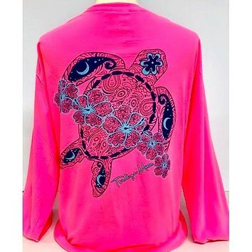 Southern Attitude Tortuga Moon Flower Turtle Comfort Colors Long Sleeve T-Shirt