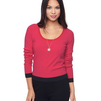 Dragonfruit/Poppy Stripe Cropped Stripe Scoop Neck Top by Juicy Couture,