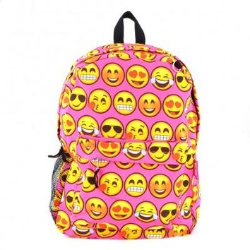 Printed Emoji Backpack-Pink