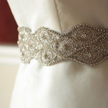 Vintage Scroll Sash Handmade large rhinestone by bridalcouture