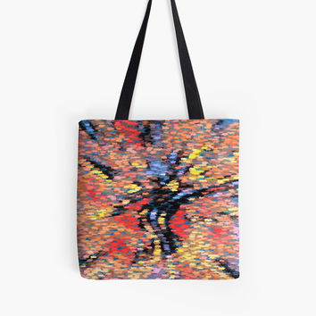 'Pastel Autumn Leaves - Butterfly Abstract Pattern' Tote Bag by SpieklyArt