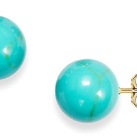 6mm Genuine Turquoise Ball Stud Earrings in 14K Gold