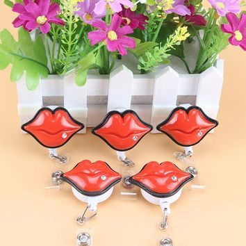 1pcs Employee Retractable Badge reel ID Card Clip ID Badge Cute red Lips Name Tag Card Holder Reel For School Office Company