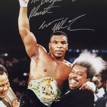 ICIKJNG Mike Tyson Signed Autographed 'The Baddest Man On The Planet' Glossy 16x20 Photo (ASI COA)