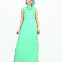 60s Lime Green Empire Waist Dress Sleeveless Ruffle Neon Mod Hostess Maxi Dress with Pockets (L)
