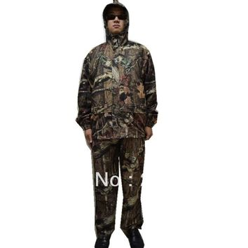 Waterproof Outdoor Wild Bionic Camo Clothes Hunting Suits Sets Jacket+Pants+Cap