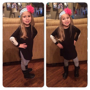 Kids Black with Lace Elbows