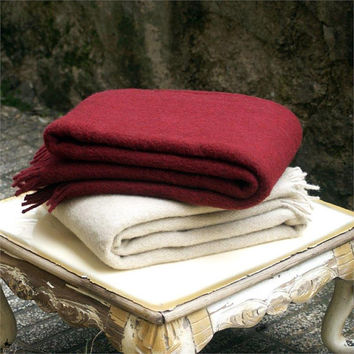 Set of 2, Claret red & Flax wool blanket,Womens wool blanket,Mens wool blanket,throw blanket,Sofa throws,Warm,Winter,Wool throw blanket