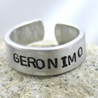 Geronimo Hand Stamped Doctor Who Aluminum Ring Adjustable