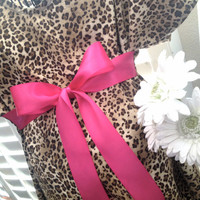 Maternity Hospital Gown - Leopard Gown with Bright Pink Bow