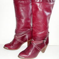 Zodiac Vintage 70's Oxblood Burgundy Leather TALL 8 M Womens Boots