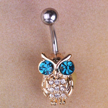 Gold Owls Blue Piercings Bird Navel Belly Rings Sexy Bikini Body Jewelry Women Girls Belly Button Rings Summer Holiday Bijoux