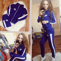 Nike Fashion Zipper Sport Gym Set Two-Piece Pants Coat Sportswear