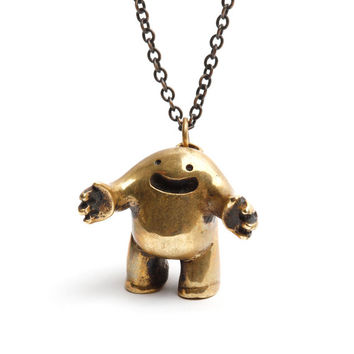 Hug Necklace - Oxidized Brass Pendant Designed by Spencer Hansen for Men and Women - Great Valentine's Gift!