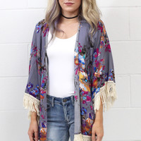 Frayed Details Watercolor Floral Kimono {Grey Pink Mix}