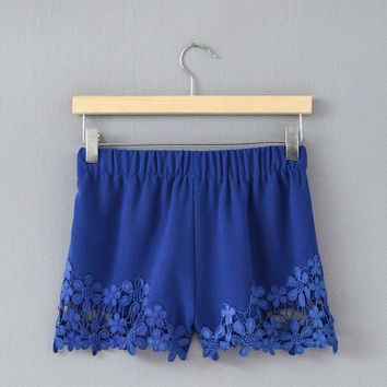 Summer Crochet Hollow Out Pants Stylish Slim Shorts [6050442497]