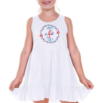 Flower Circle Fourth of July on White Ruffle Dress