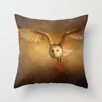 Night Raptor - Barn Owl Throw Pillow by Theresa Campbell D'August Art
