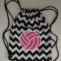 Hot Pink Volleyball on Black and White Chevron Backpack Bag