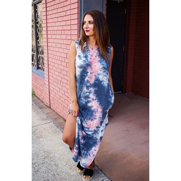 Mix It Up Tie Dye Maxi - Navy