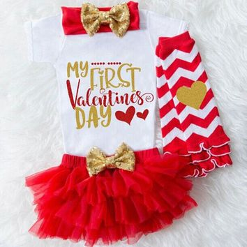 US Baby Girl 1st Valentine's Day Tops Romper Tulle Skirt Headband Outfit Clothes