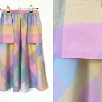 Pastel Check Skirt - Vintage 1970's Flared Skirt - Very Small / Teens / Girl's Skirt