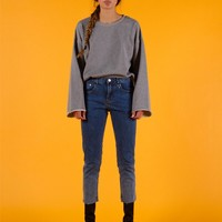 Grey Essential Raw Hem Cropped Pullover
