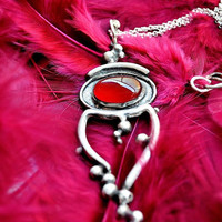 Silver pendant with red stone - dark red stone pendant - goth whimsical necklace - silver pendant with bordeaux gemstone