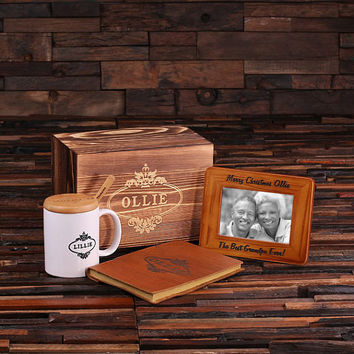 Personalized 4 pc Gift Set with Keepsake Box – Frame Journal Mug with Lid and Spoon