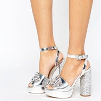 ASOS HOLLYWOOD Embellished Platform Sandals at asos.com
